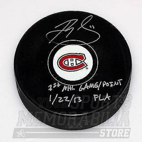 Brendan Gallagher Montreal Canadiens Signed Autographed 1st Game Inscribed Puck