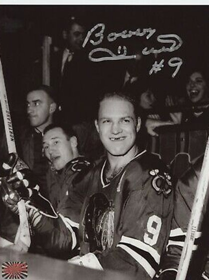 Bobby Hull Chicago Blackhawks signed 8x10 Toothless Smile on bench