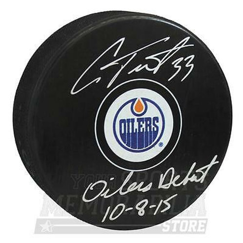Cam Talbot Edmonton Oilers Signed Autographed Oilers Debut Inscribed Puck
