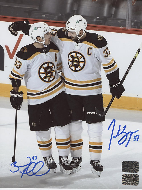 Brad Marchand Patrice Bergeron DUAL signed Away Jersey Vertical