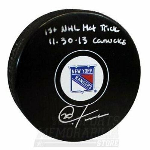 Chris Kreider New York Rangers Signed Autographed 1st Hat Trick Inscribed Puck B