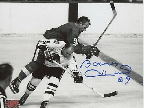 Bobby Hull Chicago Blackhawks signed 8x10 hip-check Gordie Howe