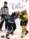Bobby Robins Boston Providence Bruins Signed Fight Brandon Mashinter Sharks 8x10