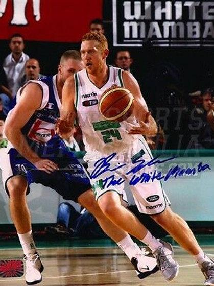 Brian Scalabrine Signed Italy Benetton Treviso Action 8x10 Celtics White Mamba