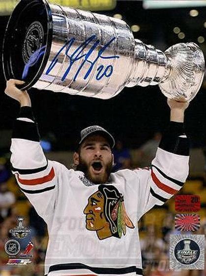 Brandon Saad Chicago Blackhawks signed raising Stanley cup 8x10 photo