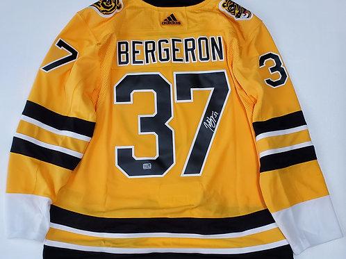 Patrice Bergeron Boston Bruins signed Adidas Reverse Retro Jersey