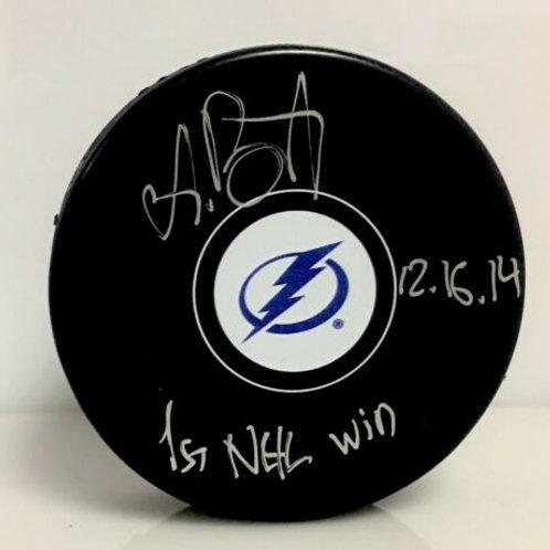 Andrei Vasilevskiy Tampa Bay Lightning Signed  Puck With 1st NHL Win Inscription