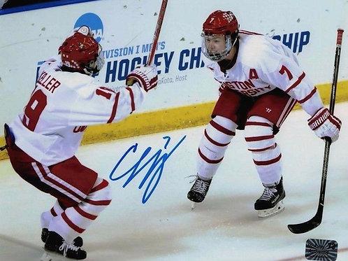 Charlie McAvoy Boston Bruins Signed Boston University 8x10 w/Clayton Keller