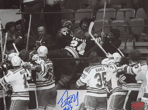 Terry O'Reilly Boston Bruins Signed Autographed Brawl in Stands vs Fans 8x10
