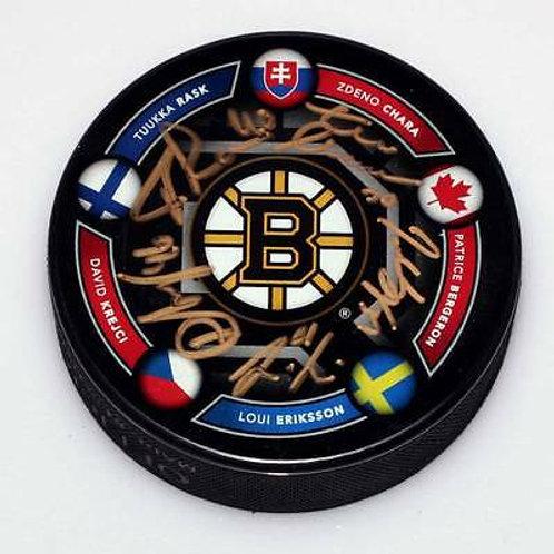 Boston Bruins Signed 2014 Olympic Puck Bergeron Rask Chara Eriksson Krejci LE