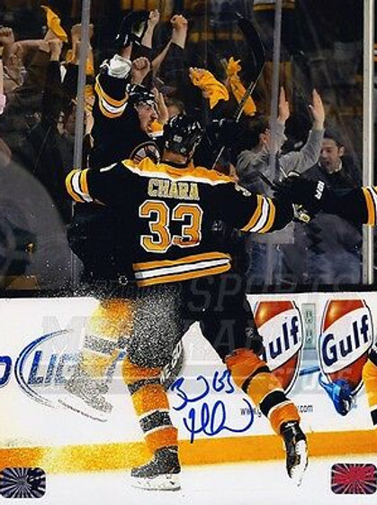 Brad Marchand Boston Bruins Signed 2013 Playoffs OT Win Celebration 8x10 Chara