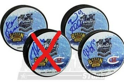 3- 2016 Winter Classic Boston Bruins Signed Pucks Bergeron Marchand Chara