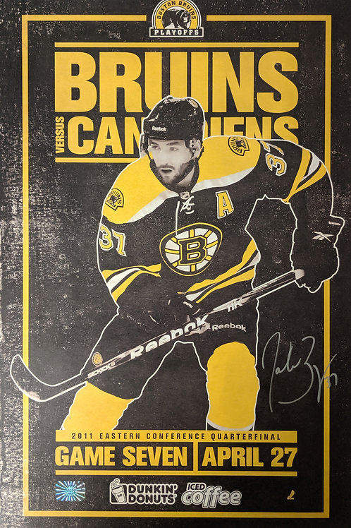 Patrice Bergeron Boston Bruins Signed Autographed Game Day Roster Poster