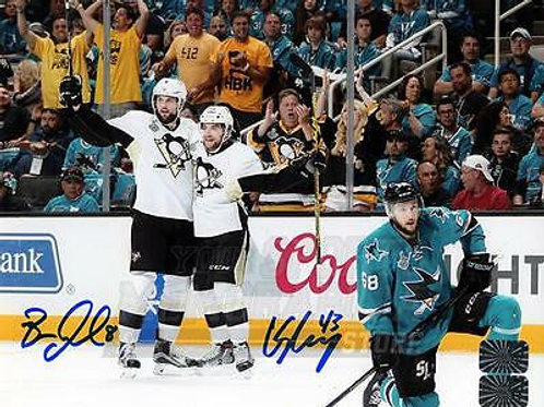 Conor Sheary Brian Dumoulin Pittsburgh Penguins Signed Autographed Goal 8x10