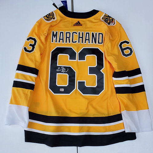 Brad Marchand Boston Bruins signed Adidas Reverse Retro jersey