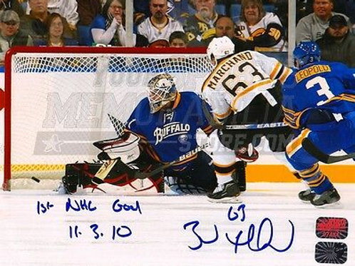 Brad Marchand Boston Bruins Signed Autographed 1st NHL Goal Inscription 16x20