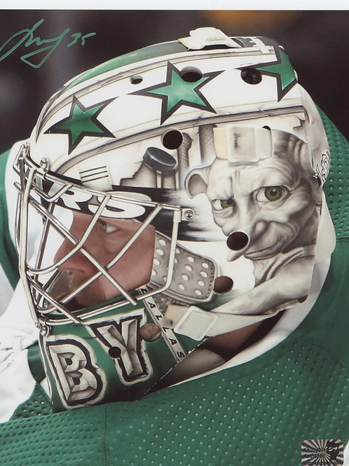 Anton Khudobin Dallas Stars signed 8x10 Dobby Mask side view