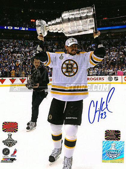 Chris Kelly Boston Bruins Signed Autographed Raising Stanley Cup on Ice 8x10