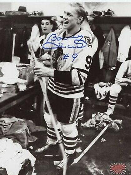 Bobby Hull Chicago Blackhawks signed 8x10 Locker Room picture