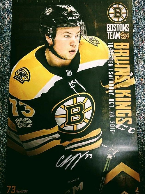 CHARLIE MCAVOY  Boston Bruins Signed autographed game day roster poster