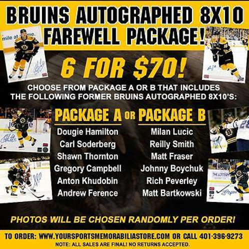 Boston Bruins Signed Autographed 8x10's Farewell Package 6 for $70 - PACKAGE A