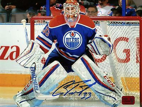 Cam Talbot Edmonton Oilers Signed Autographed Goaltending Home Action 8x10