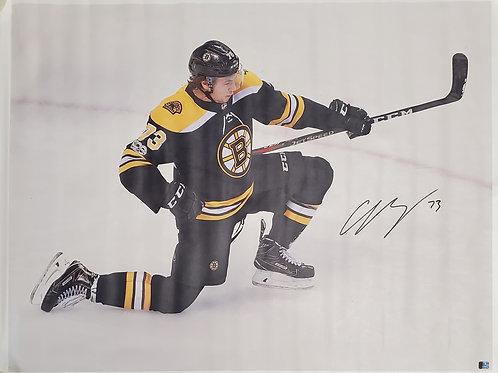 Charlie McAvoy Boston Bruins signed 30x40 CANVAS Fist Pump