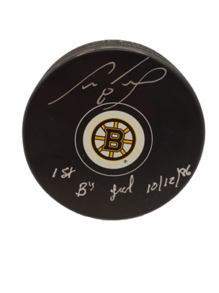 """Cam Neely Boston Bruins Logo signed puck inscribed """"1st B's Goal 10/12/86"""""""
