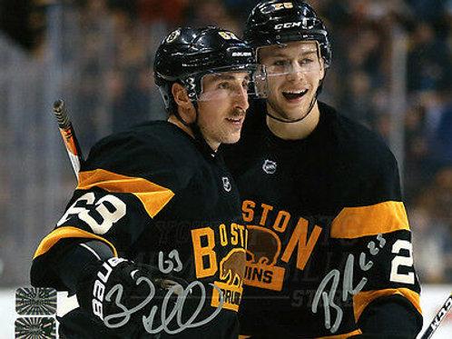 Brad Marchand Brandon Carlo Boston Bruins Signed Autographed Celebration 8x10