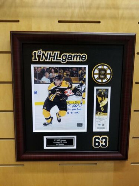 "Brad Marchand Boston Bruins Signed ""1st NHL Game"" Inscribed 8x10 & Ticket Frame"