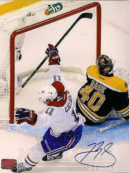 Brendan Gallagher Montreal Canadiens Signed Autographed Goal vs Bruins Rask 8x10