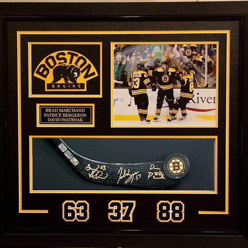 Patrice Bergeron Brad Marchand David Pastrnak Boston Bruins Signed Blade Display