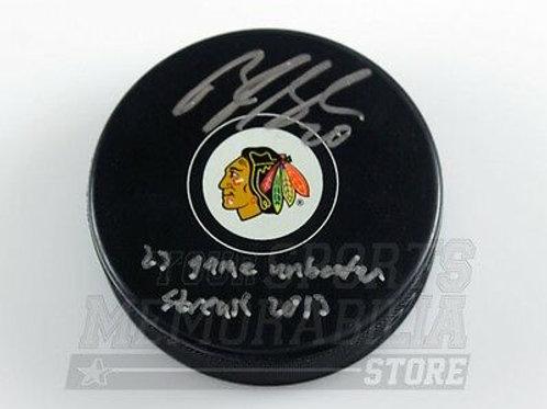 Brandon Saad Chicago Blackhawks signed inscribed Blackhawks 23 game streak puck