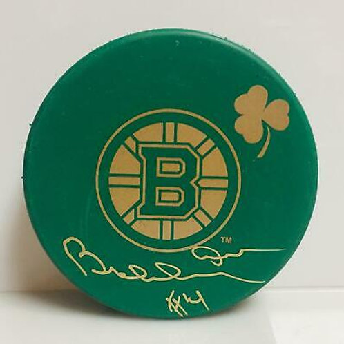 Bobby Orr Boston Bruins Signed Autographed Green St.Patricks Day Hockey Puck