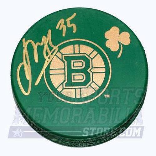 Anton Khudobin Boston Bruins Signed Green St. Patricks Day Bruins Logo Puck