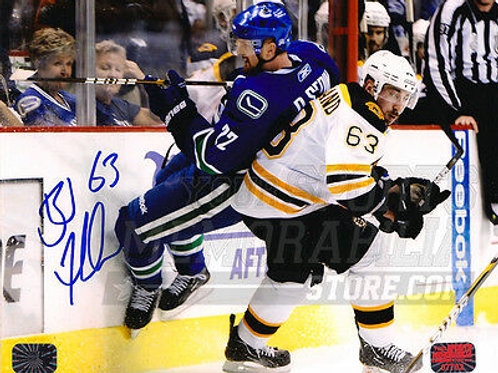 Brad Marchand Boston Bruins Autographed Stanley Cup Finals Sedin Check 8x10