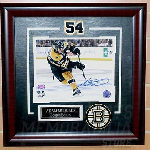 Adam McQuaid Boston Bruins Signed Autographed Home Action 8x10 framed