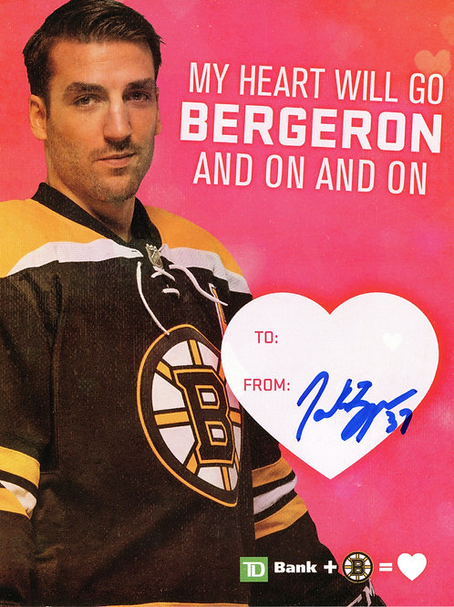 Patrice Bergeron Boston Bruins Signed Autographed TD Bank Bruins Valentine Card