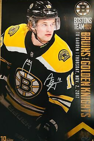 Anders Bjork Boston Bruins Signed Autographed 2017-18 Game Day Roster Poster