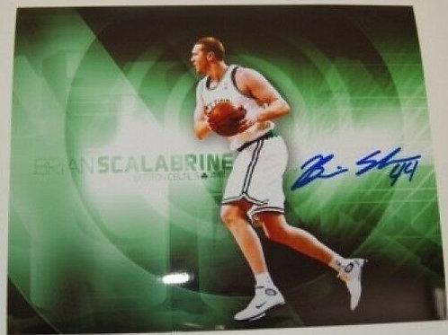 Brian Scalabrine Boston Celtics Signed Autographed Green 8x10