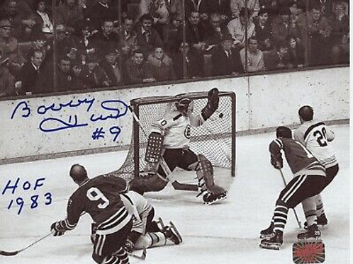 "Bobby Hull Chicago Blackhawks signed 8x10 600th goal inscribed ""HOF 1983"""