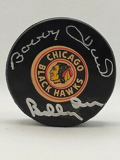 Bobby Hull Bobby Orr Chicago Blackhawks DUAL signed VINTAGE Viceroy puck