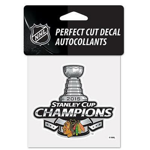 """Chicago Blackhawks 2015 Stanley Cup Champions Perfect Cut Color Decal 4"""" x 4"""""""