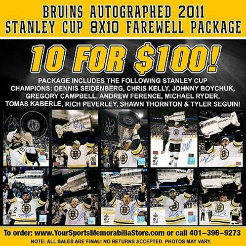 Boston Bruins Autographed 2011 Stanley Cup 8x10s Farewell Package - 10 for $100