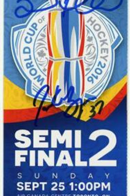 Brad Marchand Patrice Bergeron Sign Autograph World Cup Hockey Semi Final Ticket