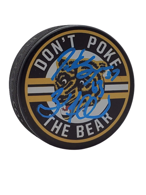 Brad Marchand, Patrice Bergeron DUAL SIGNED Dont Poke The Bear Puck