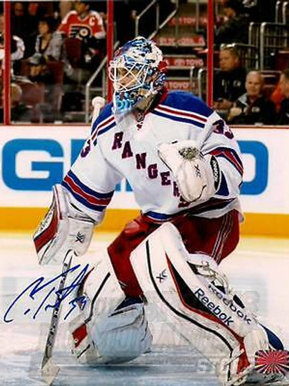 Cam Talbot New York Rangers Signed Autographed Goaltending Away Action 8x10