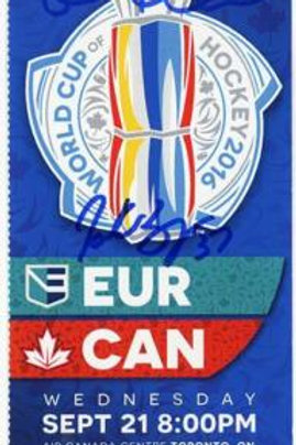 Brad Marchand Patrice Bergeron Sign Autograph World Cup Hockey Ticket Can vs Eur
