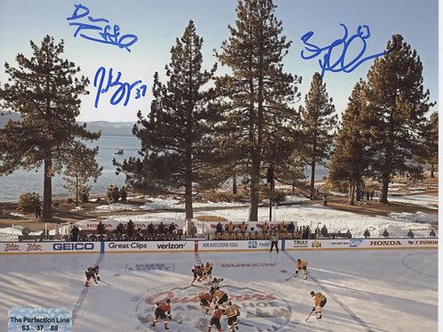 Brad Marchand Patrice Bergeron David Pastrnak Boston Bruins TRIPLE signed 8x10