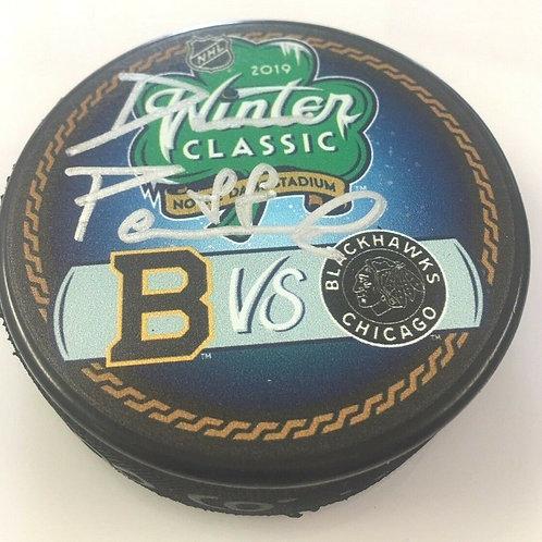 David Pastrnak Boston Bruins Signed 2019 Winter Classic Duel Puck